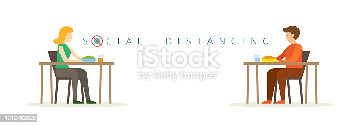 istock Man and Woman Eating on Table, Social Distancing Concept 1212762328