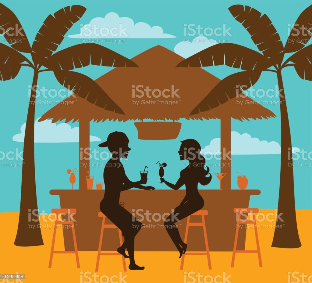 Man And Woman Enjoy Summer Vacation Drink Cocktails At Beach Bar Silhouettes Scene Royalty