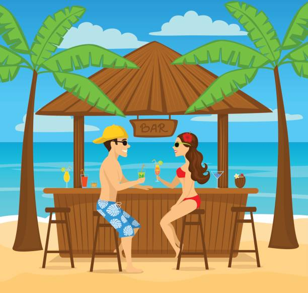 Man and woman enjoyig summer vacation, drink cocktails at beach bar, sitting under palm trees, colorful cartoon vector illustration vector art illustration