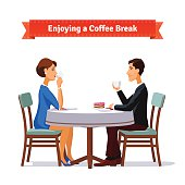 Man and woman enjoying a coffee break an some cake. Flat style illustration or icon. EPS 10 vector.