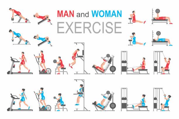 ilustraciones, imágenes clip art, dibujos animados e iconos de stock de ejercicio de hombre y mujer - entrenamiento con pesas