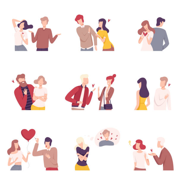 Man and Woman Experiencing Unrequited Feelings Set, One Sided or Rejected Love Flat Vector Illustration Man and Woman Experiencing Unrequited Feelings Set, One Sided or Rejected Love Flat Vector Illustration on White Background. rejection stock illustrations
