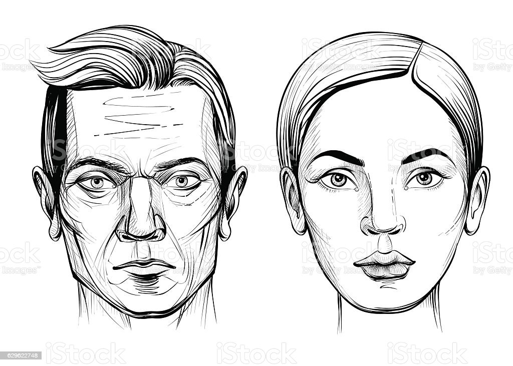 man and woman face black and white vector illustration