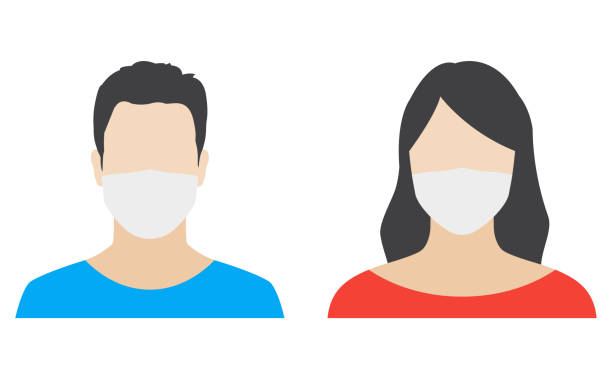 ilustrações de stock, clip art, desenhos animados e ícones de man and woman face icon in medical mask. male and female person in surgical mask. people avatar design. vector illustration. - covid hair