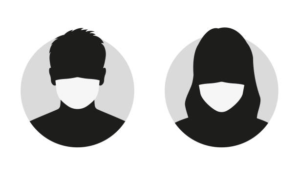 ilustrações de stock, clip art, desenhos animados e ícones de man and woman face silhouette in medical mask. male and female person avatar in surgical mask. vector illustration. - covid hair