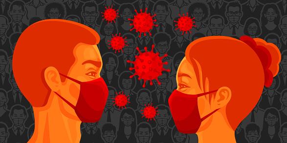Man and woman face to face wearing masks. Coronavirus 2019-nCoV virus.