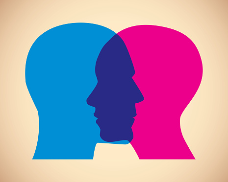 Man and Woman Faces Overlapping