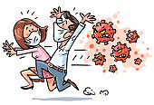 Vector illustration of a man and a woman with medical face masks running away from a dangerous virus, isolated on white. Concept for viral infections, flu virus, health crisis, micro organisms, infection, illness, Coronavirus, COVID-19, hysteria, epidemic and panic.