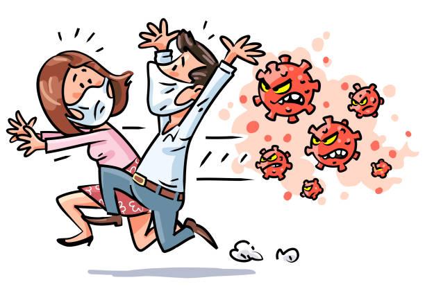 stockillustraties, clipart, cartoons en iconen met man en vrouw die van virus vluchten - karikatuur