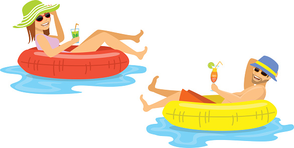 Man And Woman Floating On Inflatable Inner Rings Mattress