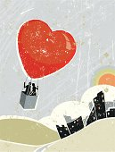 Love! A stylized vector cartoon of a couple in a Heart shaped Hot Air Balloon flying high over the city the style is  reminiscent of an old screen print poster, suggesting love, romance, eloping, wedding, marriage, valentine's day, upwards,, choice, escape, or freedom. Couple, heart balloon, basket,City, paper texture and background are on different layers for easy editing. Please note: clipping paths have been used,  an eps version is included without the path.