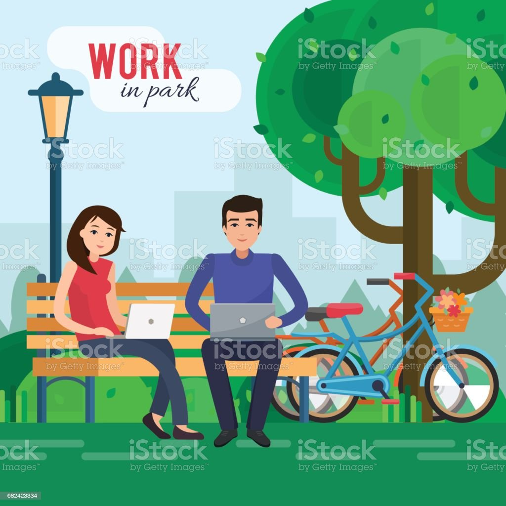 Man and woman freelancers works in park with computer on bench under tree. royalty-free man and woman freelancers works in park with computer on bench under tree stock vector art & more images of adult