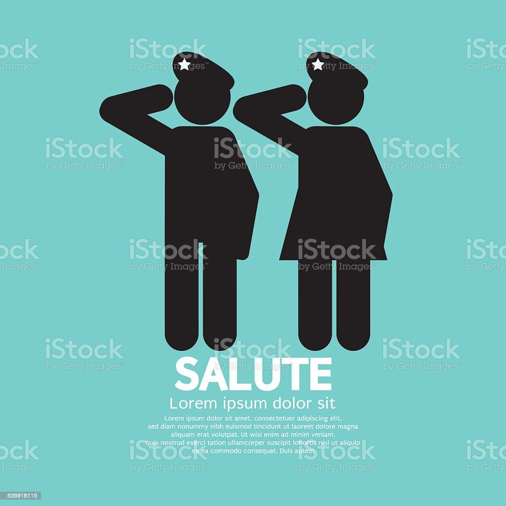 Man And Woman Gave The Salute Gesture vector art illustration