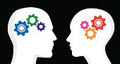 Vector illustration of one male and one female profile with gears inside their heads. One has cool / blue colored gears, the other has hot / red colored gears.