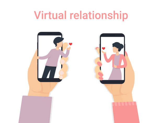 man and woman hand with phone small people love vector art illustration