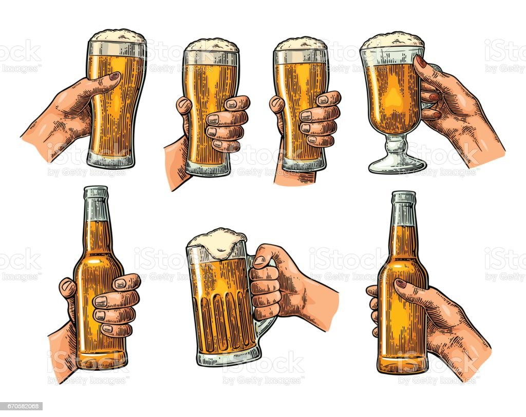 Man and woman hands holding, clinking with beer glass, bottle - illustrazione arte vettoriale