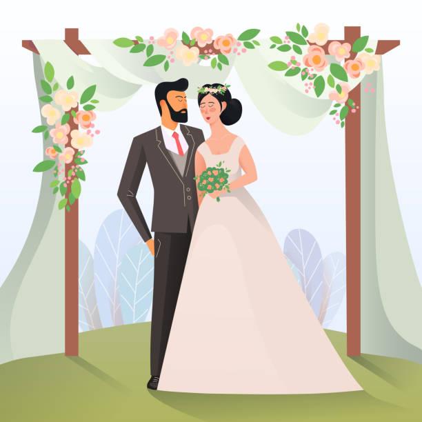ilustraciones, imágenes clip art, dibujos animados e iconos de stock de hombre y mujer que tiene novia - casados