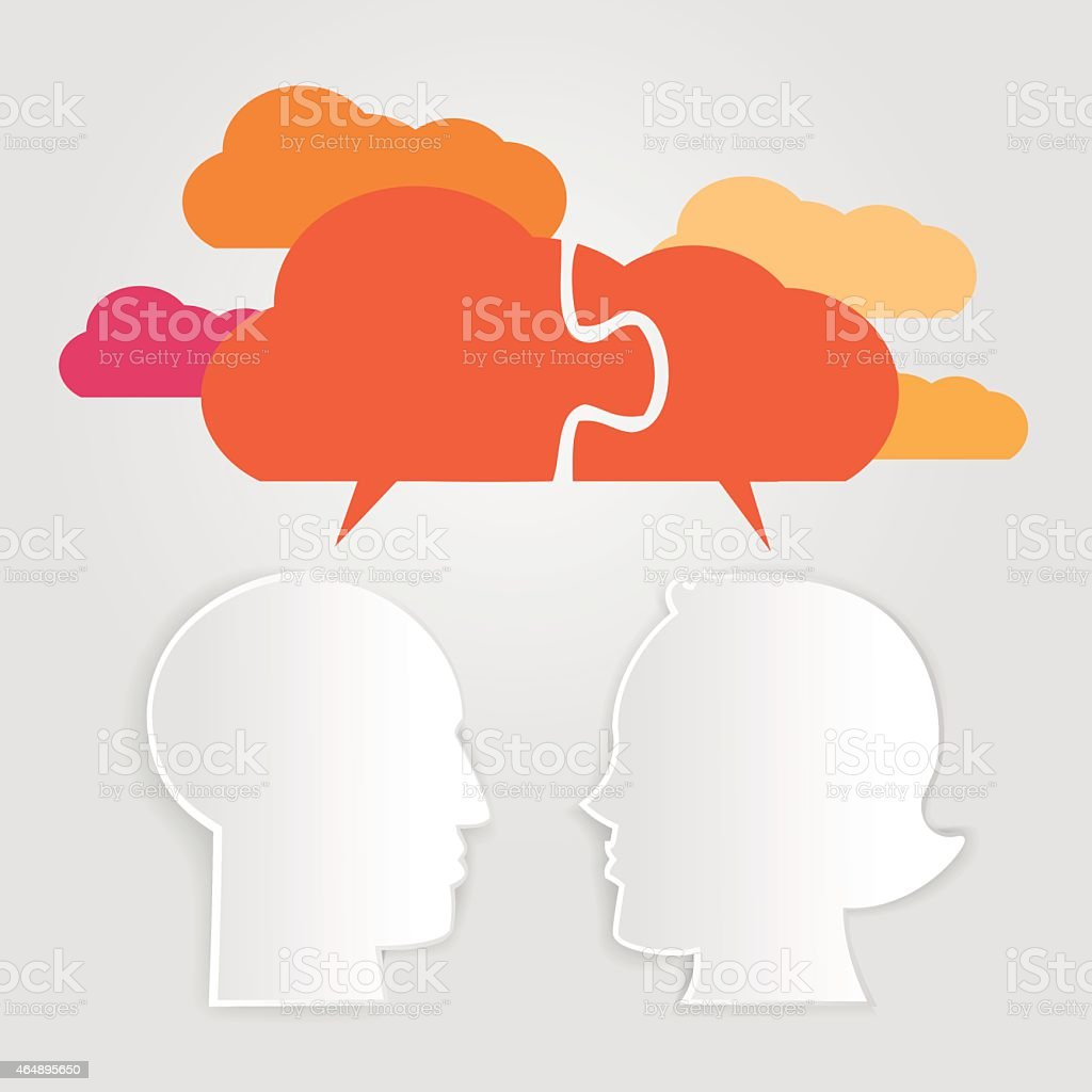 Man and woman head shapes with cloud silhoue vector art illustration