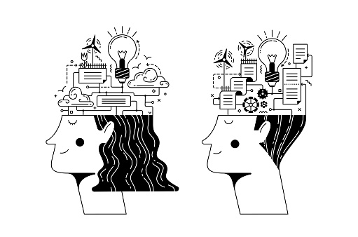 Man and woman heads full of different connected details