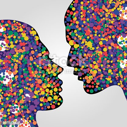 624717328 istock photo Man and woman heads with colorful circles 937542404