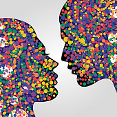 Man and woman heads. Psychology concept illustration, vector art. Abstract couple face with colorful circles