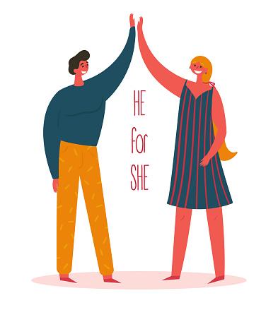 Man and woman. Heforshe he for she global movement