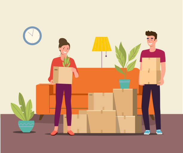 Man and woman hold boxes in the living room. Moving house.  Vector flat style illustration vector art illustration