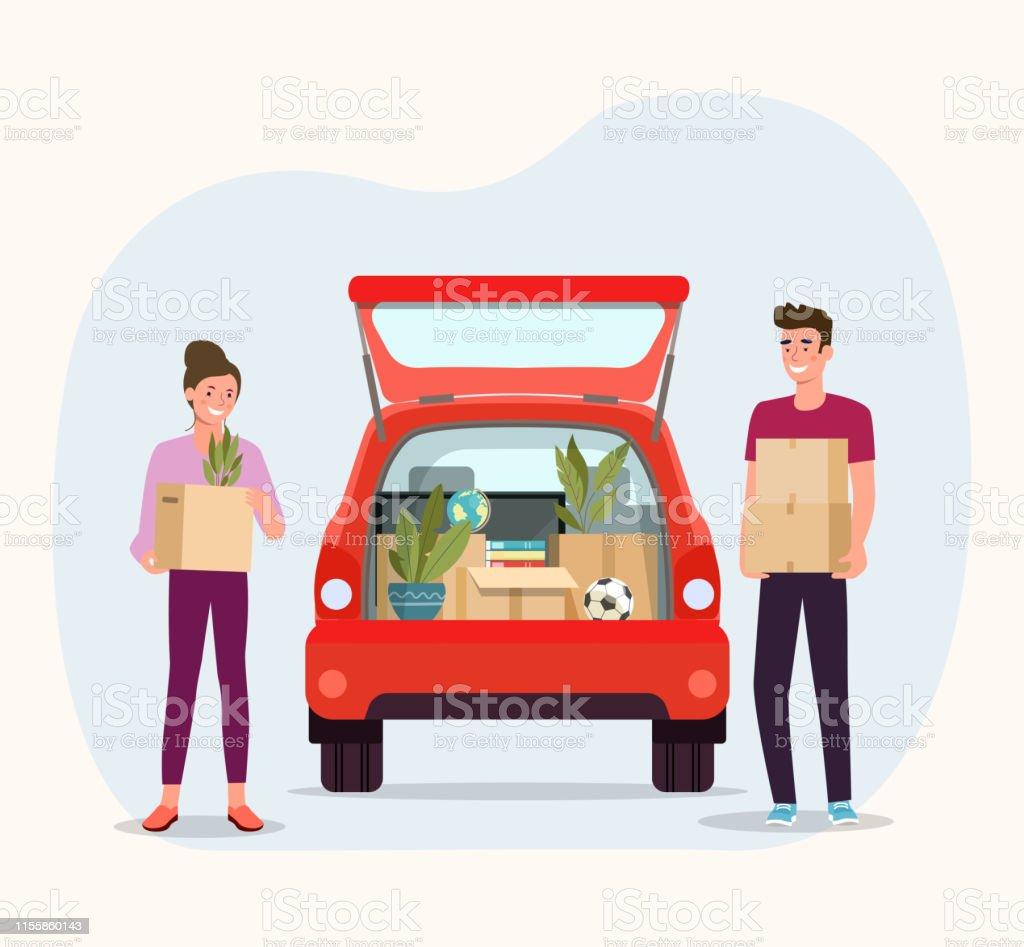 Caixas da preensão do homem e da mulher. Casa em movimento. Coisas na caixa no porta-malas do carro na parte de trás.  Ilustração Lisa do estilo do vetor - Vetor de Aberto royalty-free