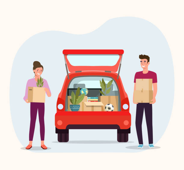 Man and woman hold boxes. Moving house. Things in box in the trunk of the car on the back.  Vector flat style illustration vector art illustration