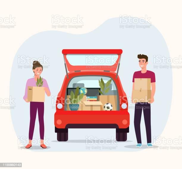 Vetores de Caixas Da Preensão Do Homem E Da Mulher Casa Em Movimento Coisas Na Caixa No Portamalas Do Carro Na Parte De Trás Ilustração Lisa Do Estilo Do Vetor e mais imagens de Aberto