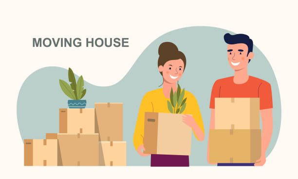 man and woman hold boxes. moving house.  vector flat style illustration - przeprowadzka stock illustrations