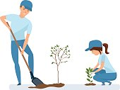 People gardening volunteers. Group of volunteer planting in park. Man and woman holding shovel and planting plants and trees. Vector illustration, people in cartoon style.
