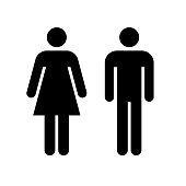Man and woman icon. Black icon isolated on white background. Man and woman simple silhouette. Web site page and mobile app design vector element.