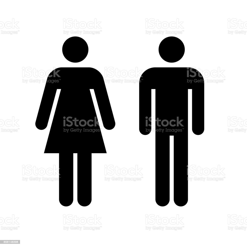Man and woman icon. Black icon isolated on white background. vector art illustration