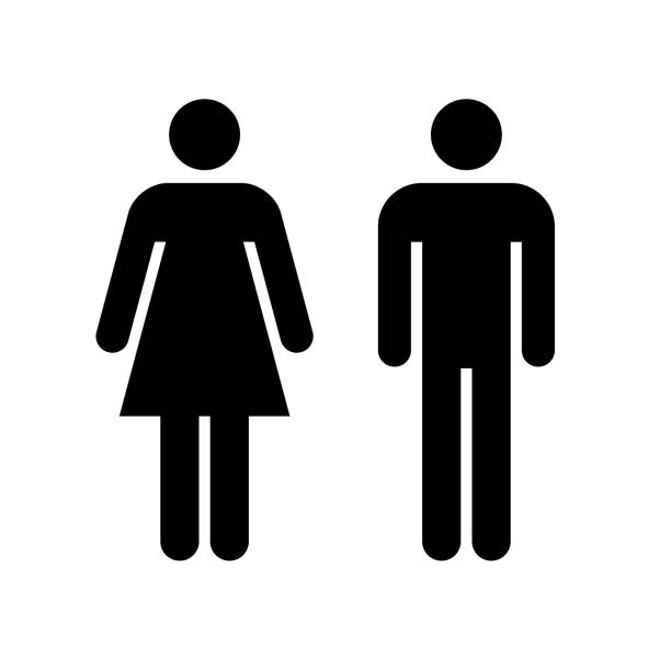 Man and woman icon. Black icon isolated on white background. Man and woman icon. Black icon isolated on white background. Man and woman simple silhouette. Web site page and mobile app design vector element. clip art stock illustrations
