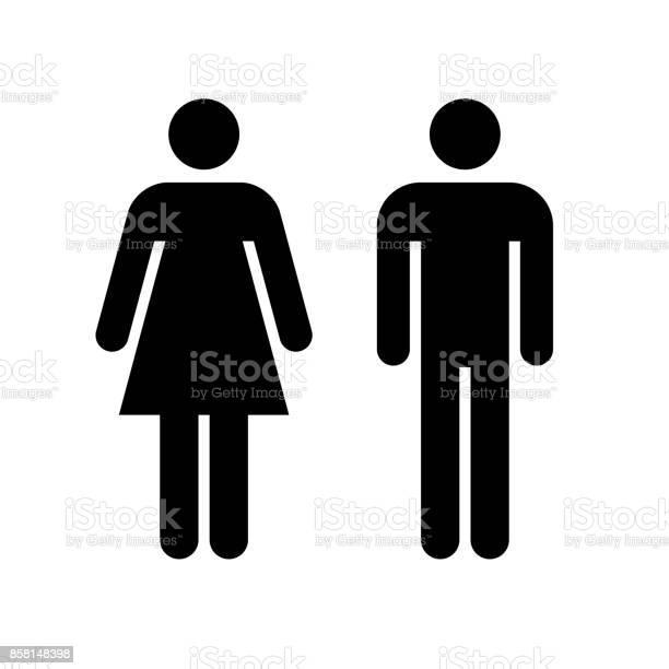 Symbol Für Mann Und Frau Schwarze Symbol Isoliert Auf Weißem Hintergrund Stock Vektor Art und mehr Bilder von Bildart