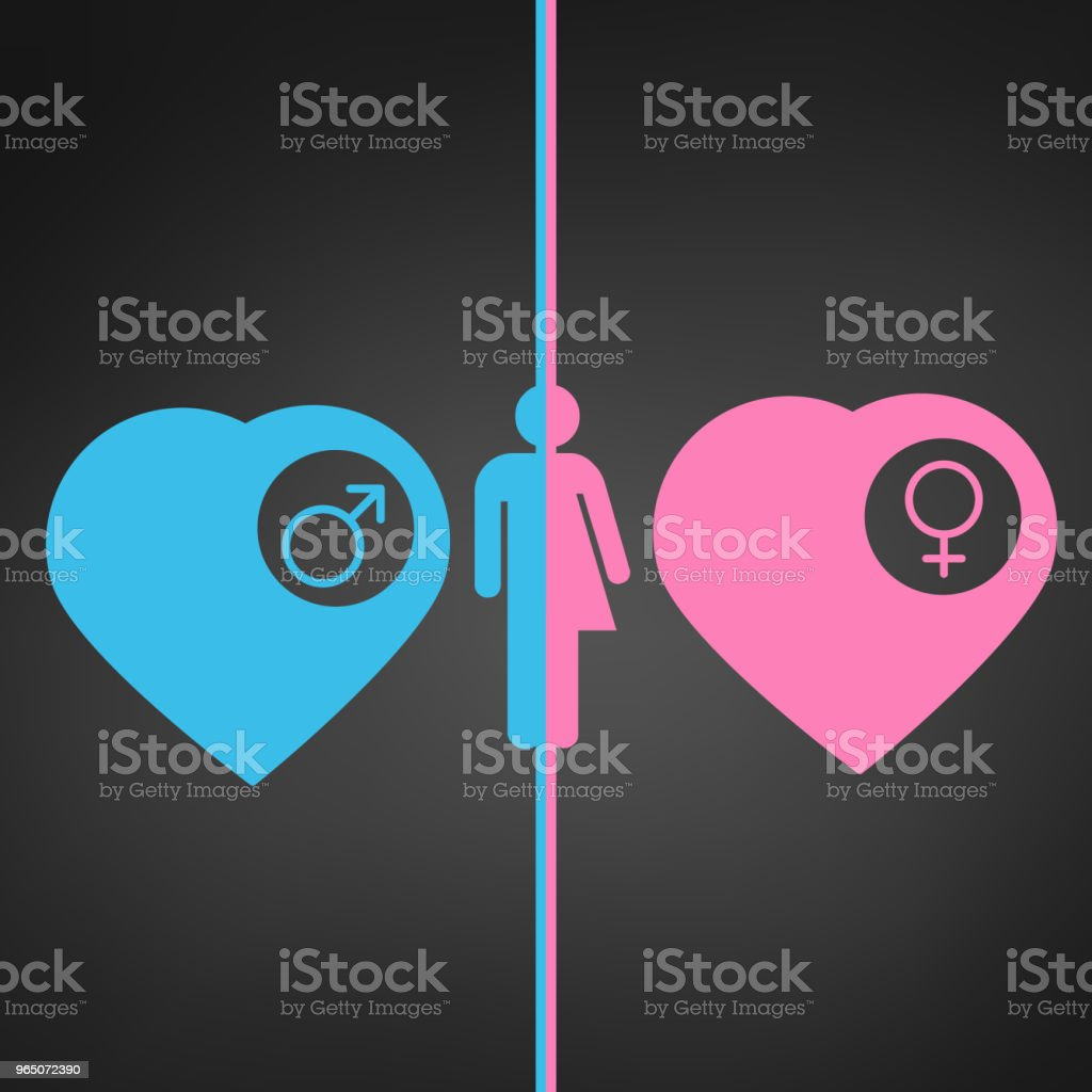 man and woman icon, blue and pink hearts with male and female sign in side circle. vector illustration. royalty-free man and woman icon blue and pink hearts with male and female sign in side circle vector illustration stock vector art & more images of art
