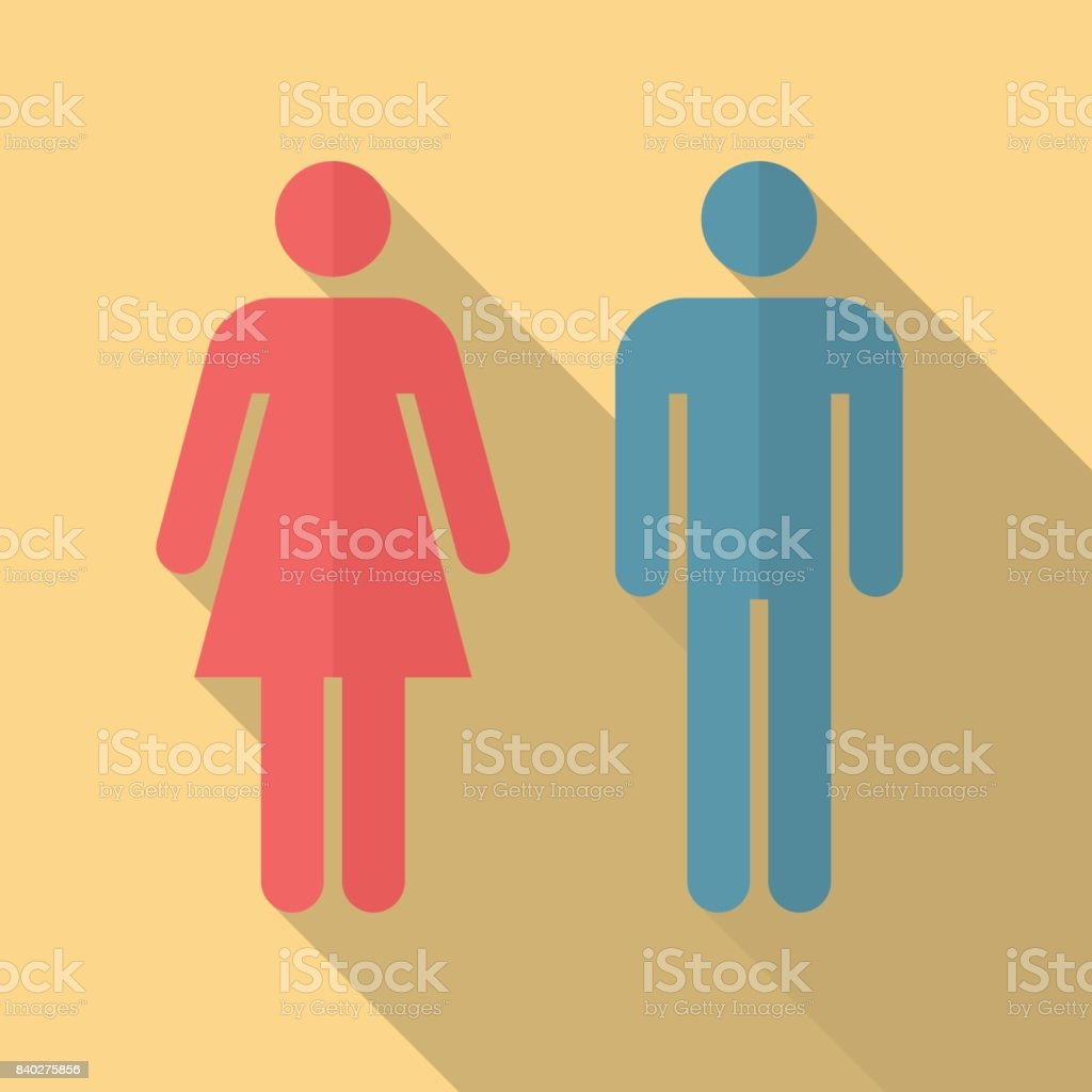 Bathroom Sign Vector Style man and woman icon with long shadow flat design style stock vector