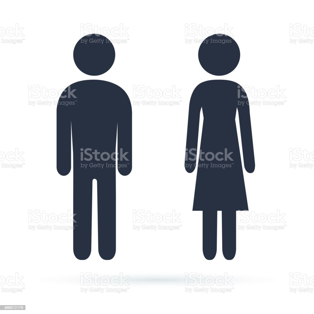 Man And Woman Icons Male Female Bathroom Signs Simple Modern Rounded Human
