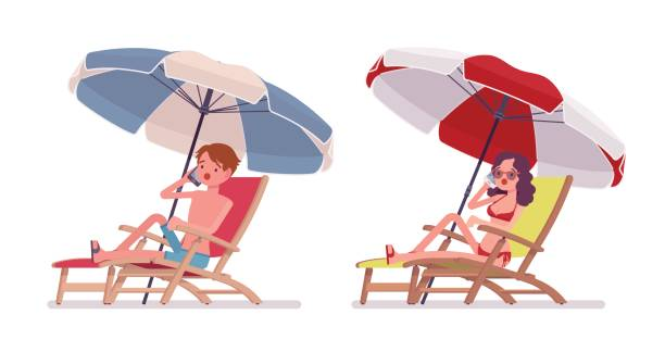 Man and woman in a beachwear sunbathing and phonetalking Man and woman in a beachwear, relaxing, sunbathing in a chaise longue under umbrella, enjoying summer vacation season, phonetalking. Vector flat style cartoon illustration, isolated, white background skinny pants stock illustrations