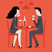 Man and woman in a restaurant.
