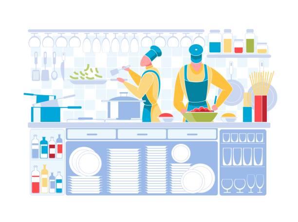 mann und frau in chef uniform kochen auf küche - gewerbliche küche stock-grafiken, -clipart, -cartoons und -symbole