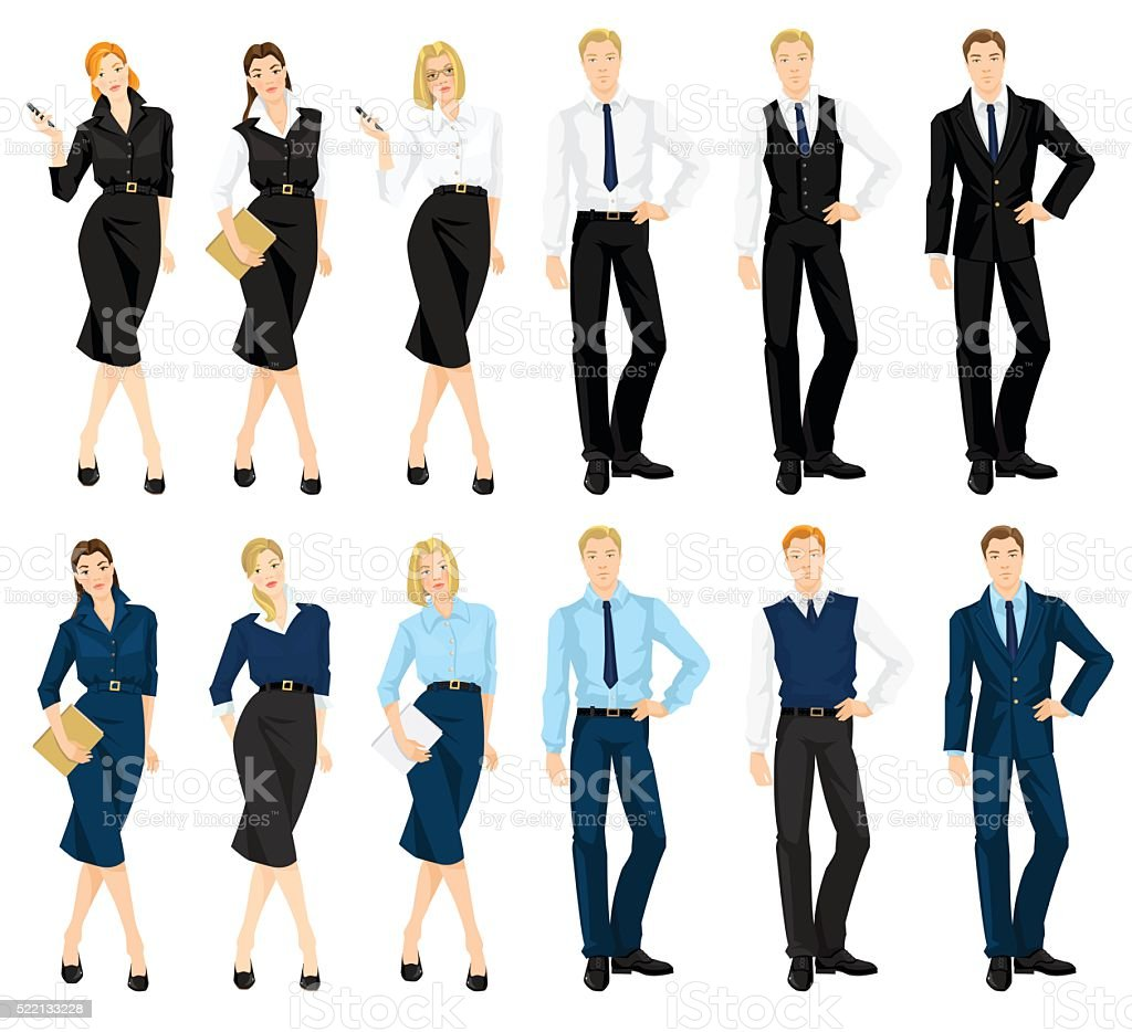 Man and woman in formal clothes vector art illustration
