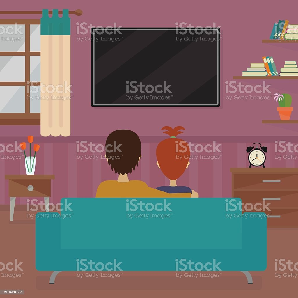 Man and woman in front of tv screen vector art illustration