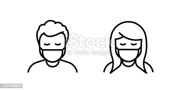 istock Man and Woman in medical face protection mask. Vector icon of depressed and tired people wearing protective surgical mask. illustration for concepts of disease, sickness, coronavirus, quarantine, social distancing 1214538597