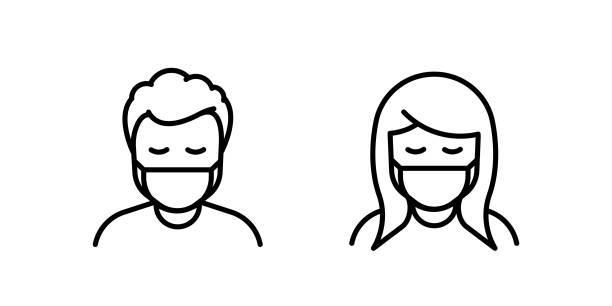 bildbanksillustrationer, clip art samt tecknat material och ikoner med man och kvinna i medicinsk ansiktsskydd mask. vektorikon av deprimerade och trötta personer som bär skyddande kirurgisk mask. illustration för begrepp av sjukdom, sjukdom, coronavirus, karantän, socialt avståndstagande - face mask