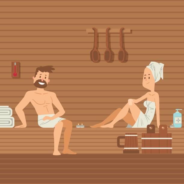 stockillustraties, clipart, cartoons en iconen met man en vrouw in de sauna vector illustratie. mensen in handdoeken zitten in warme sauna, romantisch vrijetijds paar. wellness spa resort, ontspan en geniet van de behandeling van de lichaamsverzorging - sauna