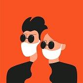 istock Man and woman in sunglasses and medical face mask. Novel coronavirus 2019-nCoV. 1213294788