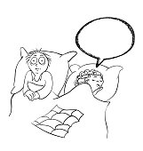 Man and woman in the bedroom, contour vector illustration