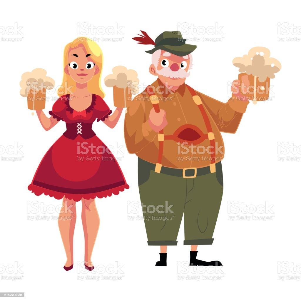 Man and woman in traditional German, Bavarian Oktoberfest costume vector art illustration